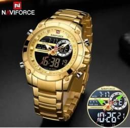 Relógio Naviforce Sport + Caixa De Madeira Gratis