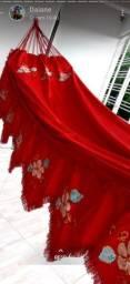 Lindas redes de tecido brim todas bordadas