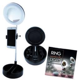Ring Light com Porta Maquiagem, Haste Retrátil e Suporte para Celular