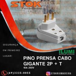 Pino Prensa Cabo Gigante 2P + T 10A 250V Cinza