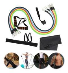 Elásticos para malhar (Power Resistance Bands)<br>Kit com 11 PCs<br>