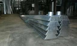 Calhas galvanizadas e em alumínio