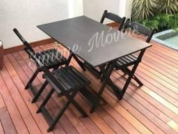Mesa dobrável 1,20X70 com 4 cadeiras Madeira