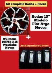"""Rodas 15"""" Fiat com Pneus"""