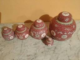Quinteto de potiches chineses vintage