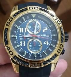 Relógio Megir Cronógrafo Completo Durado Pulseira Silicone