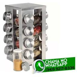 Título do anúncio: Porta Condimentos Temperos Giratório - 16 Potes Inox/Vidro