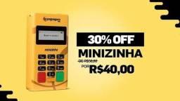 Máquina de cartão Minizinha NFC (PagSeguro) frente grátis.