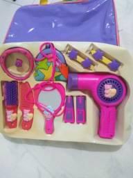 Bolsa infantil para brincar de salão de beleza