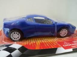 Carrinho De Brinquedo Novo Pull Back Racer Azul Fricção