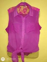 Blusa Feminina Rosa de botão Tam GG ajustável
