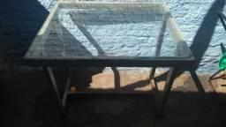 Mesa de Ferro com Vidro Incluso a90 x l90 x p80