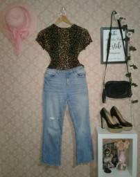 Calça jeans pantacourt Zara M 38-40 / Blusinha animal print Zara P