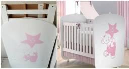 Berço Modelo Encanto Branco e Rosa, Marca Santos Andira em Perfeito Estado