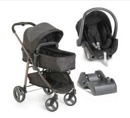 Kit carrinho galzerano preto + bebê conforto + base para carro