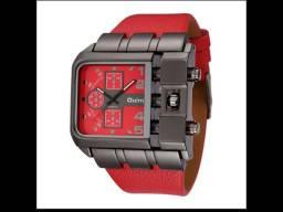 Relógio Oulm Vermelho + Óculos Polarizado