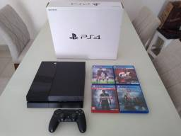 Playstation 4 Fat 500gb Conservado + 01 Controle E 4 Jogos