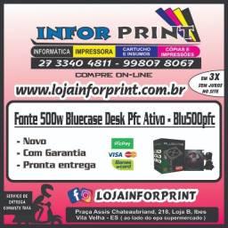 Fonte 500w Bluecase Desk Pfc Ativo Blu500pfc