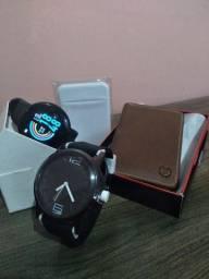 Kit SmartWatch D18 + relógio Sporting + Carteira + Adesivo p/ Cartão!