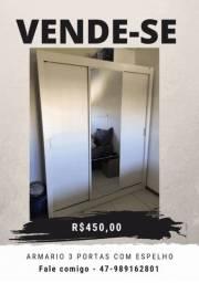 Armário Guarda roupas 3 portas correr com espelho