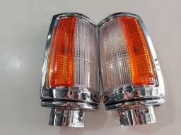 Lanterna Dianteira Pisca L200 1992 a 2003 Cristal Laranja Moldura Cromada