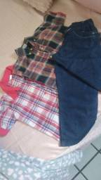 2 camisas xadrez +calça jeans