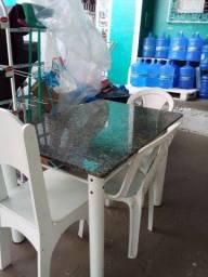 Mesa c tampo de mármore, 3 cadeira