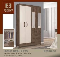 Guarda Roupas 4 Portas com Espelho #Entrega e Montagem Grátis