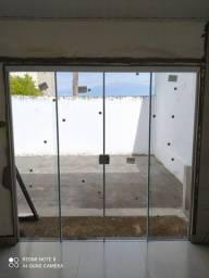 Porta de vidro temperado 4 folhas