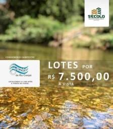 7.500 lotes campestre com acesso a rio