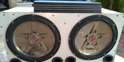 Caixa Subwoofer 2 Subs de 12 polegadas em caixa dutada