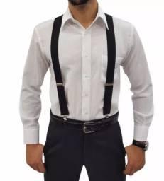 (NOVO) Suspensório Masculino/ Feminino Largo 2,5cm - Várias Cores - Adulto sem gravata
