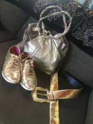 Bolsa marca Relic + tênis dijean 36+ cinto dourado