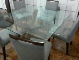 Mesa de vidro 6 cadeiras chique