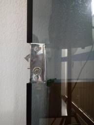 Porta de vidro preta temperada 2pecas para vender logo cuida