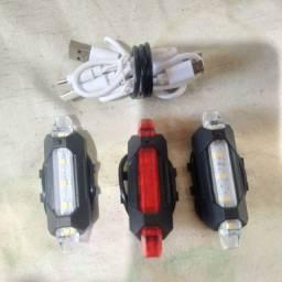 Kit 3 Lanternas de 5 LEDs Cada Para Bicicleta com USB Recarregável