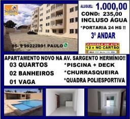 Alugo Apartamento na Avenida Sargento Hermínio Com 03 Quartos e Lazer