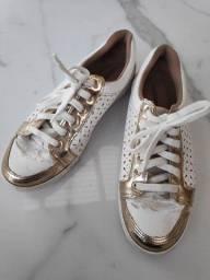 tênis via marte 36 branco e dourado