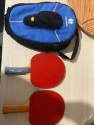 Kit 2 raquetes de ping pong+ case para raquete.