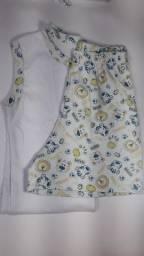 kit pijamas infantil Jubinha Dourada - 100% algodão - Novo - 6 a 12 anos