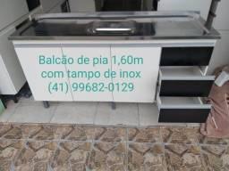 Pia Balcão de pia 1,60m com tampo de inox