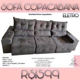 Sofá retrátil reclinável três lugares cor cinza 1