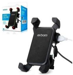 Suporte Celular com carregador Usb Para Moto - Exbom