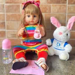 Linda Boneca Bebê Reborn Loira Cabelão toda em Silicone realista Nova (Aceito Cartão)