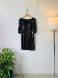 Título do anúncio: Vestido paetê curto preto P/M