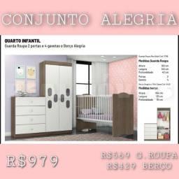 GUARDA ROUPA INFANTIL 2 PORTAS E 4 GAVETAS E BERÇO ALEGRIA