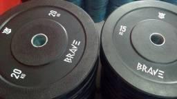 Kit Anilha Bumper Olímpica 100 kg