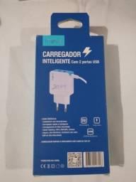 Carregador Tipo C Inteligente Com 2 Portas USB - Car-9014