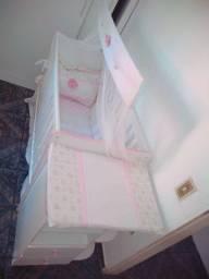 Berço cômoda com cantoneira doce sonho branco rosa brilho  Qmovi.