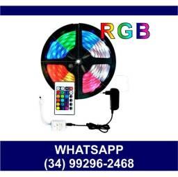 Fita Led RGB c/ Controle 5 Metros completa * Fazemos Entregas